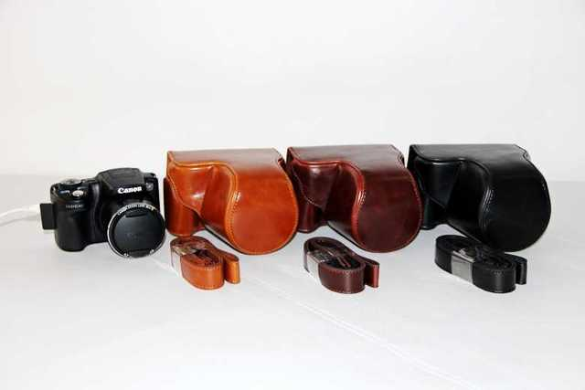 New High Quality Leather Camera Case Bag Cover For Canon