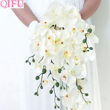 QIFU 1 Bouquet Artificial Butterfly Orchid Flowers For Decor Silk Flower Phalaenopsis Real Touch Fake