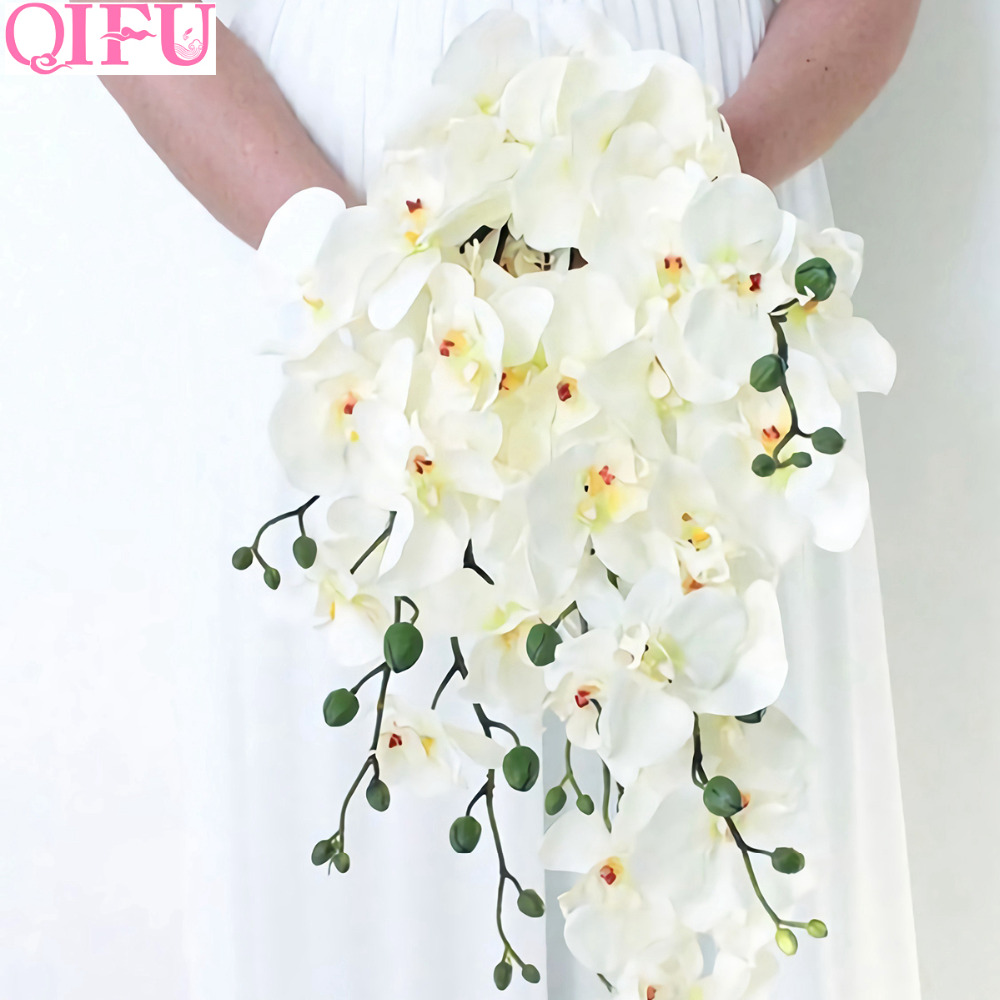 Искусственные цветы QIFU для свадьбы, цветочное украшение, искусственные цветы, букет фаленопсис, ветки, искусственные цветы