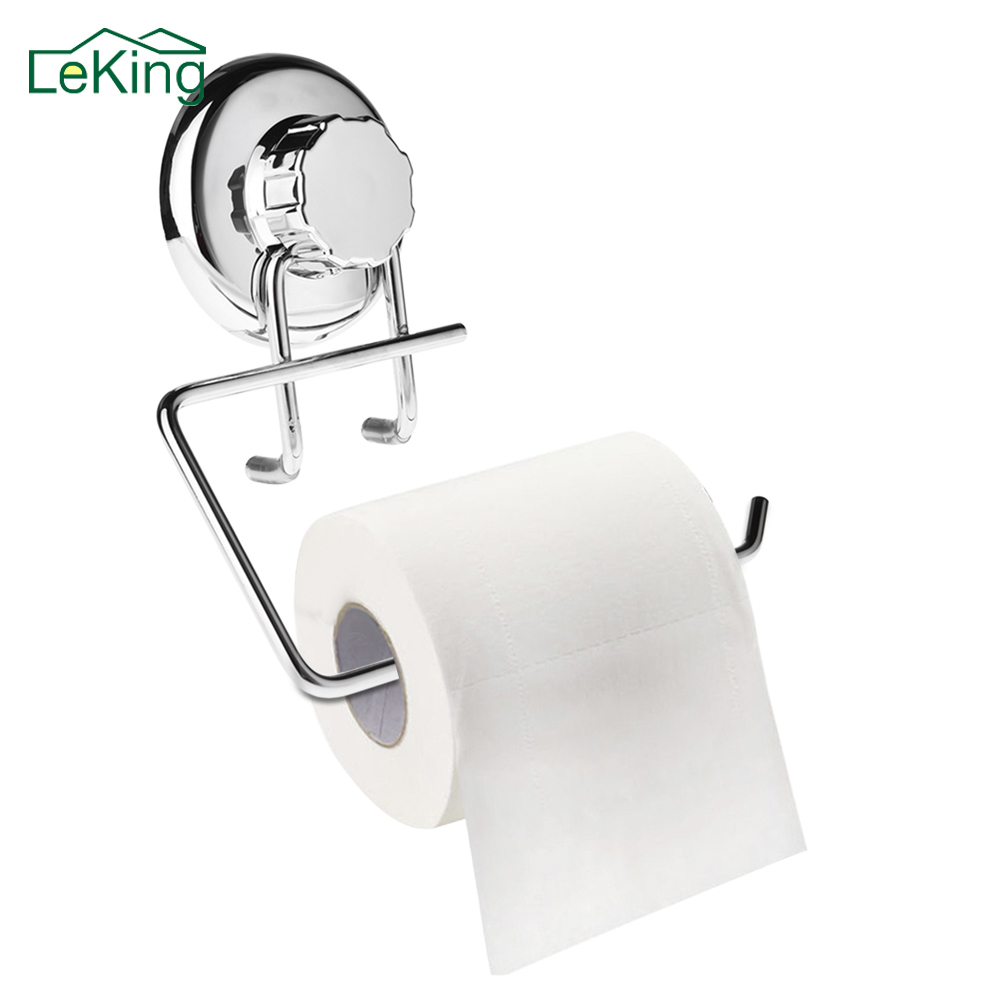 Toilet Tissue Roll Paper Holder Wall Mounted Stainless Steel Rack Suction Cup Plumbing Fixtures Mounted Toilet Paper Holders