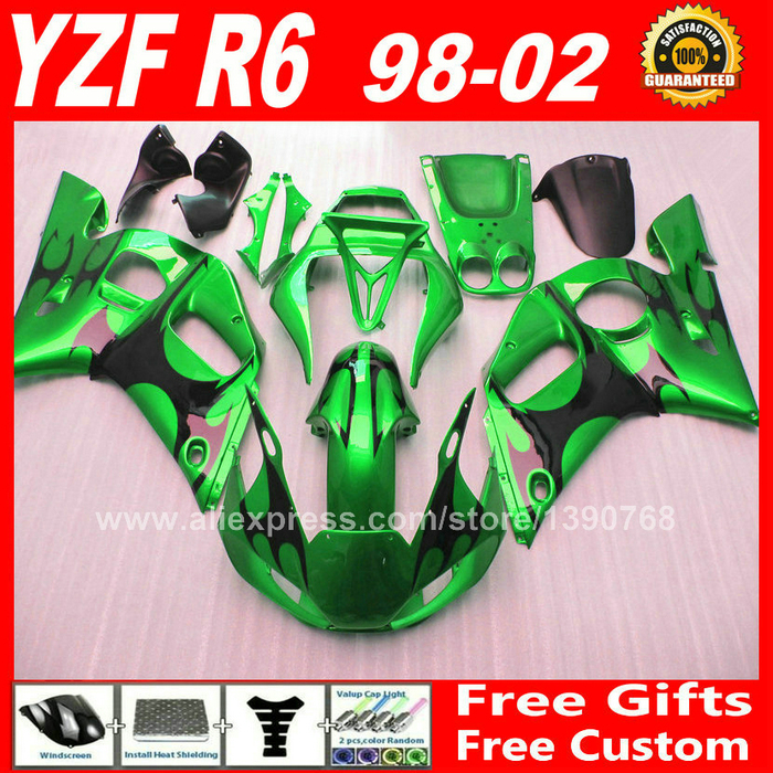 Green black Fairings kit for YAMAHA R6 1998 - 2002  1999 2000 2001 bodywork parts  98 99 00 01 02 fairing kits S0F4