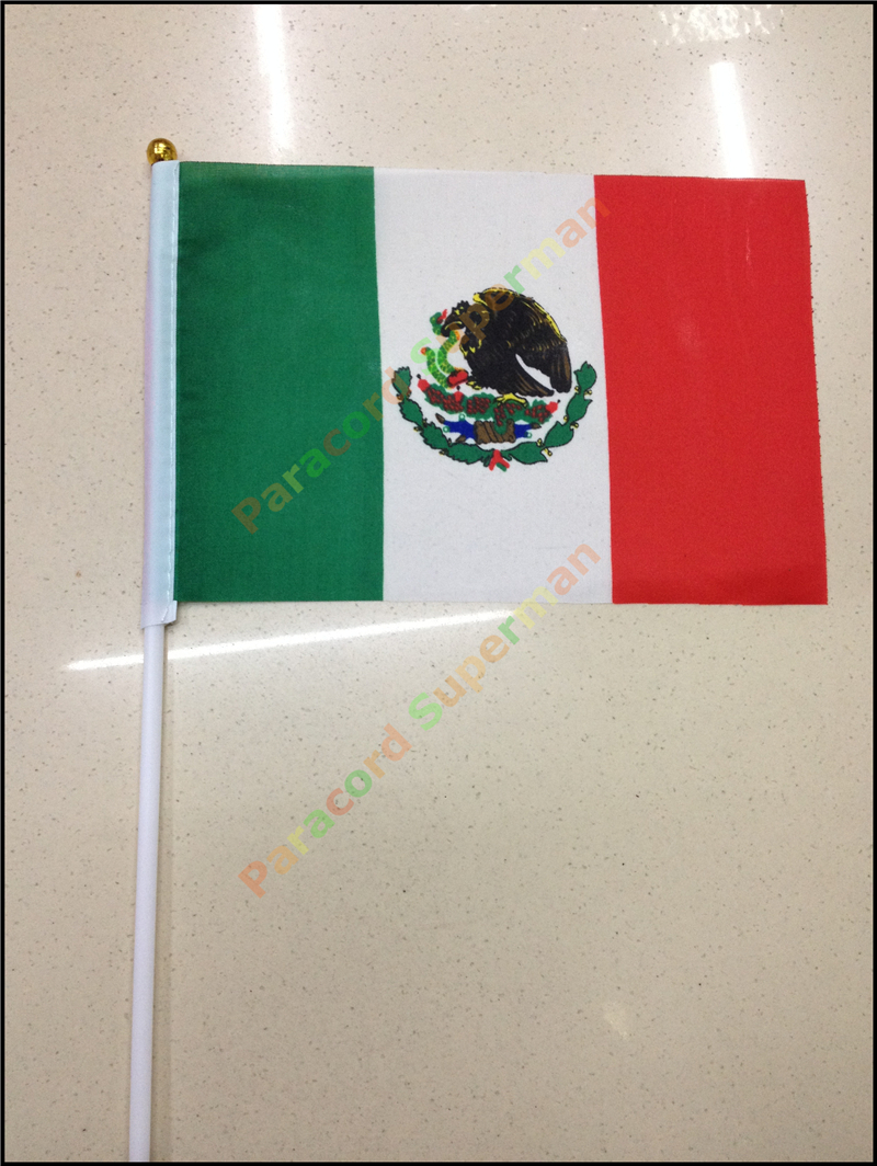 10pcs lot national flag country flag stick flags flag of the united - 10pcs Lot 14 21 Cm Small Mexican Flag Hand Wave Flags Countries Flags Elegant