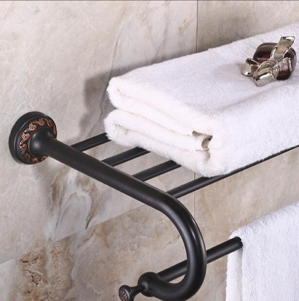High Quality Wall Mounted Towel Rack Antique Towel Holder Copper Material Bathroom Accessories Towel Rail Holder Towel Shelf bathroom shelves wall mounted towel rack bars bath towel carved holder 2 tier brass bathroom accessories towel tack ssl s22