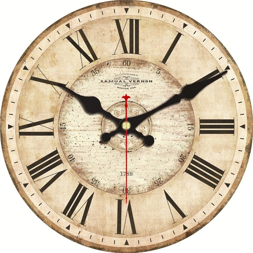 5 muster Vintage Wanduhren Römische Zahl Design Stille Zimmer Dekoration Home Decor Uhren Große Wanduhren Keine Ticken Sound