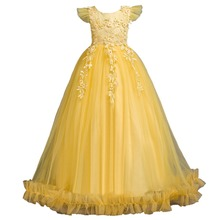 лучшая цена Vigarelyan Kids Wedding Flower Girls Dress Princess Christmas Party Children Pageant Formal Long Prom Dresses 10Y Birthday Dress