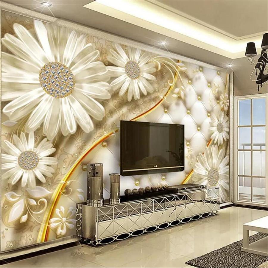 US $8 85 OFF Beibehang Dinding Mural Wallpaper Sederhana 3D Transparan Bunga Perhiasan Mewah Wallpaper Dekorasi Papel De Parede Papel De