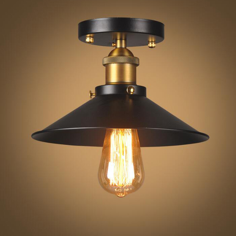 LukLoy Vintage Ceiling Light Retro Bulb Metal Country