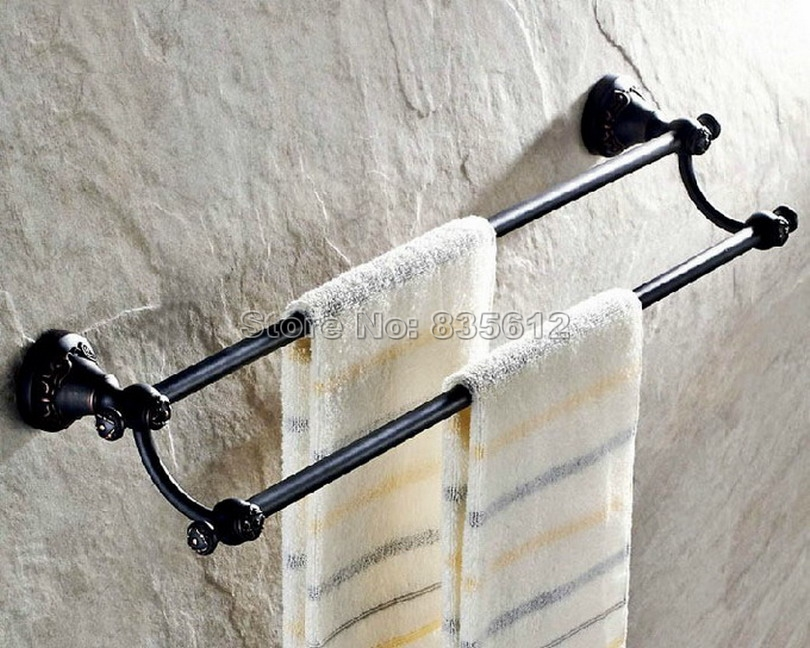 Black Oil Rubbed Bronze Wall Mounted Bathroom Double Towel Bar Towel Rack Rails Wba447 oil rubbed bronze black bathroom accessory wall mounted toilet toothbrush holder towel rack bar storage shelf