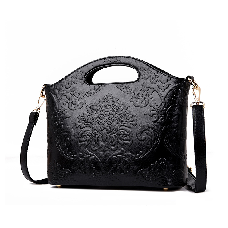 Image 2 - 2019 Luxury Flowers Handbags Women Embossed Leather Shoulder Bags