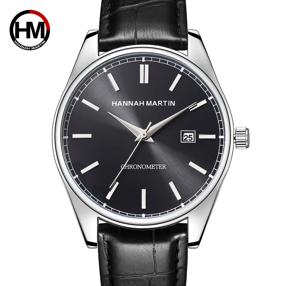 2019 Hannah Martin Men's Watches Brand Luxury Wrist Watch Men Watch Auto Date Men's Watch Clock Reloj Hombre Relogio Masculino