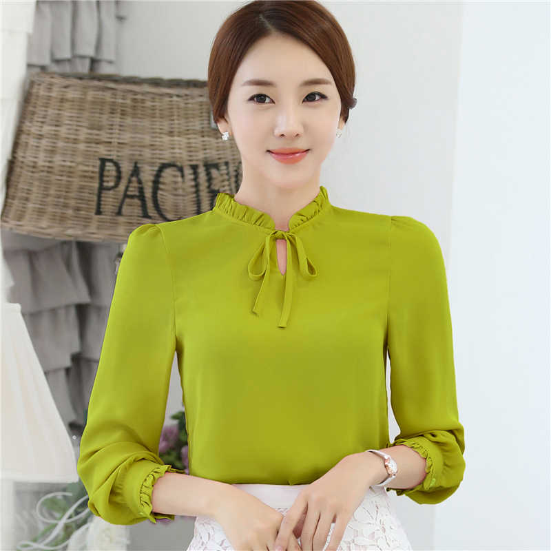 d2fa1a5bde ... Women Blouses New Fashion Tops casual loose Long Sleeve Bow Tie Lady  Chiffon Shirts Plus Size