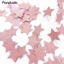 Confettis pour anniversaire, 16 décorations, en forme de cœur, étoile pour bébé fille de lannée, or rose