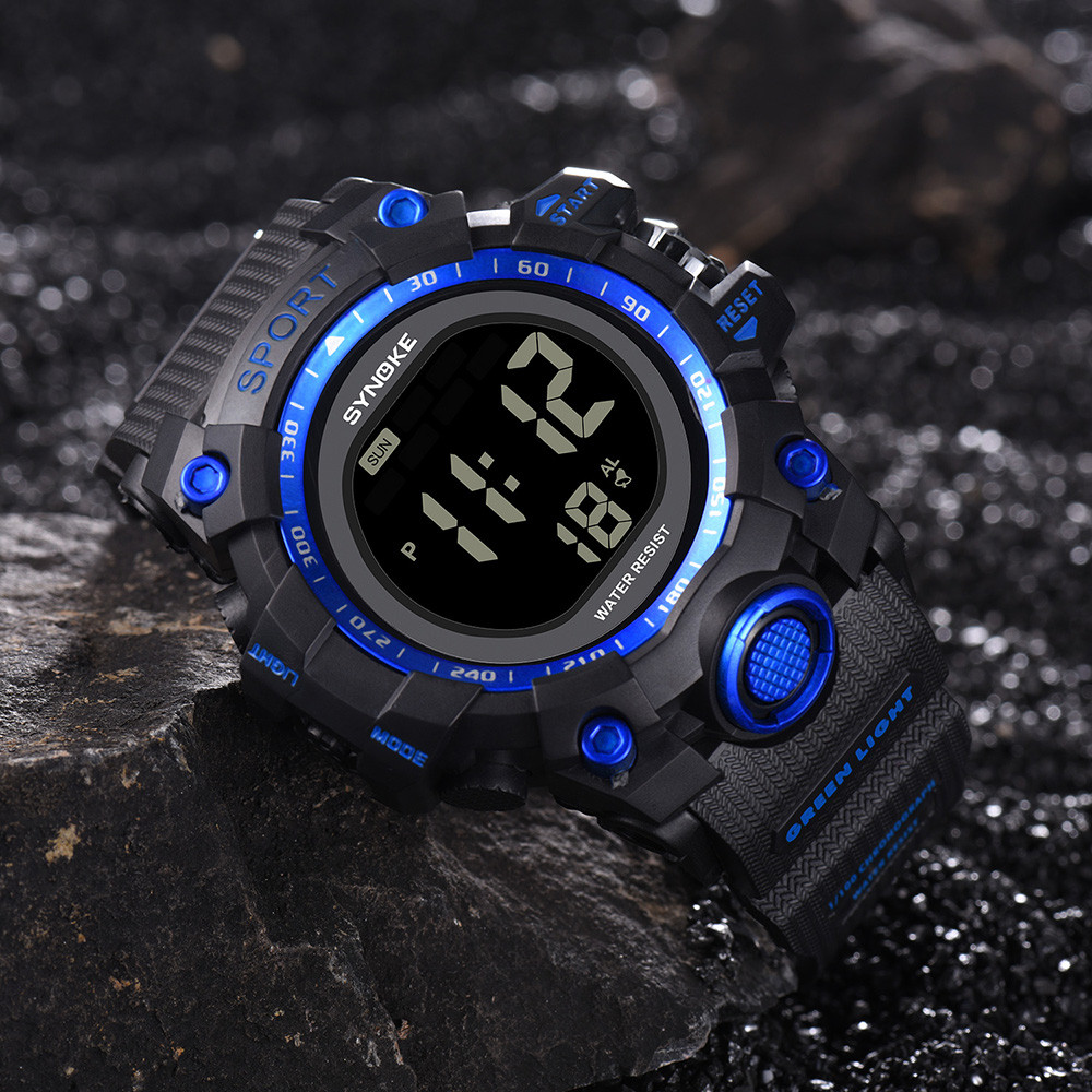 Permalink to Digital Watch SYNOKE Multi-Function 30M Waterproof Watch LED Digital Double Action Watch Erkek Kol Saati Clock