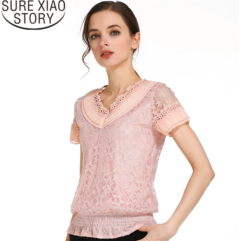 Fashion women   blouses   2019   blouse   lace women tops blusas lace women   shirt   short sleeve lace women   blouse     shirt   0398 30