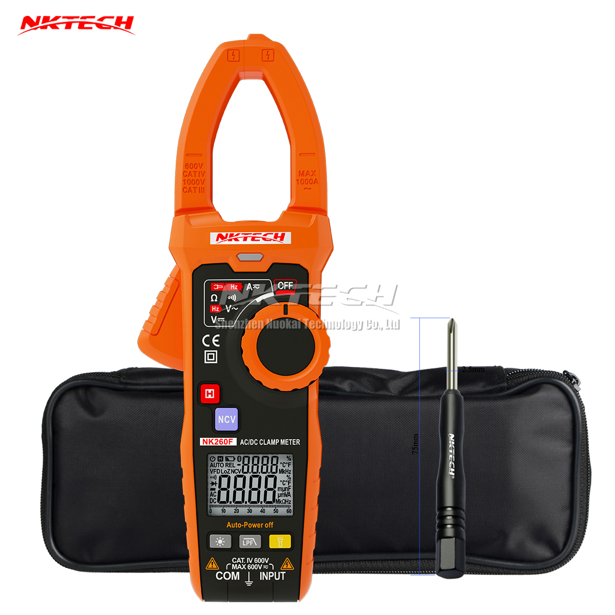 NKTECH NK260F VDF Smart Digital Clamp Meter LPF AC/DC V DCA Frequency Capacitance NCV Automatic Dual Display V/Ohm/A Auto Scan fashlight nktech super bright nk 9t6 9x
