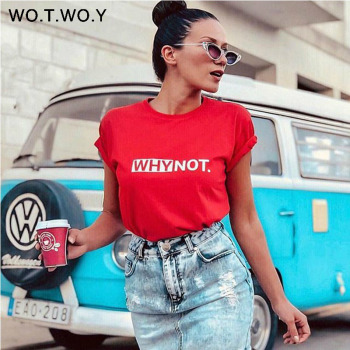 Funny Letters T Shirt Women Cotton Summer