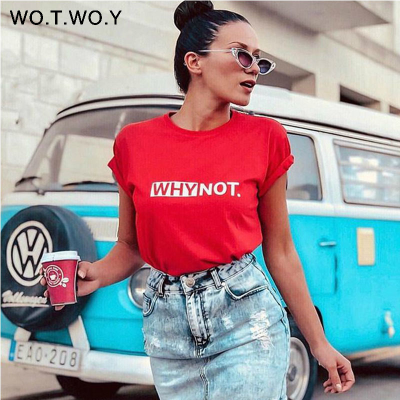 WOTWOY Funny Letters T Shirt Women Cotton Summer Printed T-Shirt Casual Tops Tee Women Short Sleeve Female White Black Red Tees