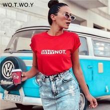 WOTWOY letras divertidas T camisa de las mujeres de algodón de verano camiseta Casual Tops Tee de las mujeres de manga corta de mujer blanco, negro, rojo camisetas