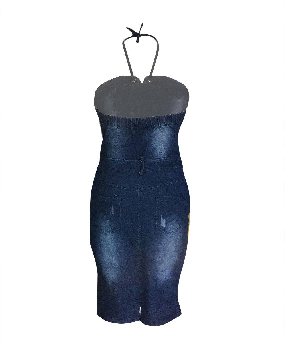2018 Delgado arnés vaquero bolso cadera vestido Sexy mujer azul Delgado Jeans vestidos de una sola pieza vaquero vintage - 5