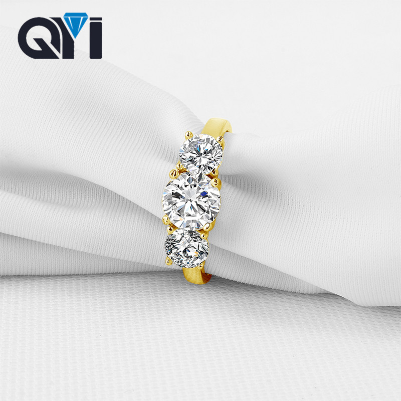 QYI 10K Solid Yellow Gold Three Stone For Women Prong Set Round Cut Sona Simulated Diamond Rings Engagement Wedding Rings