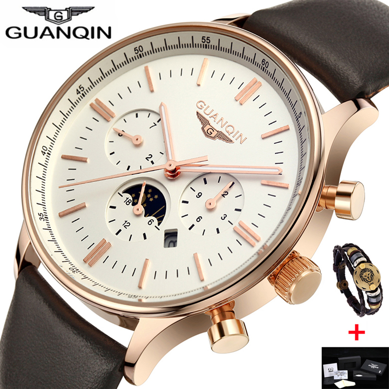 GUANQIN Designer Dress Mens Watches Top Brand Luxury Luminous Clock Male Leather Quartz Moon Phase Watch Relogio Masculino original guanqin men watches luminous luxury mens quartz watch sport leather male watches sapphire clock relogio masculino reloj