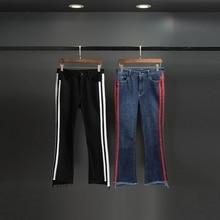 Dur Bonbon 2017 Spring Fashion Side Striped High Waist Skinny Jeans Women Cotton Vintage Zipper Ankle-Length Denim Flare Pants