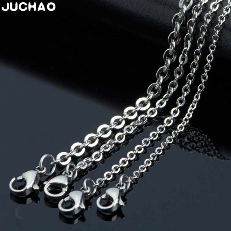 JUCHAO Jewelry Findings Components 316 Stainless Steel Necklace Titanium Steel Cross Chain Diy Men Women Accessories O-Chain