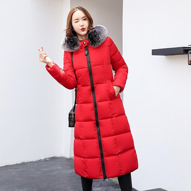 Novas Mulheres Inverno Casaco Com Capuz Gola De Pele Engrossar Quente 3XL Outerwear Parka Longa Jaqueta Feminina Senhoras chaqueta feminino 2019