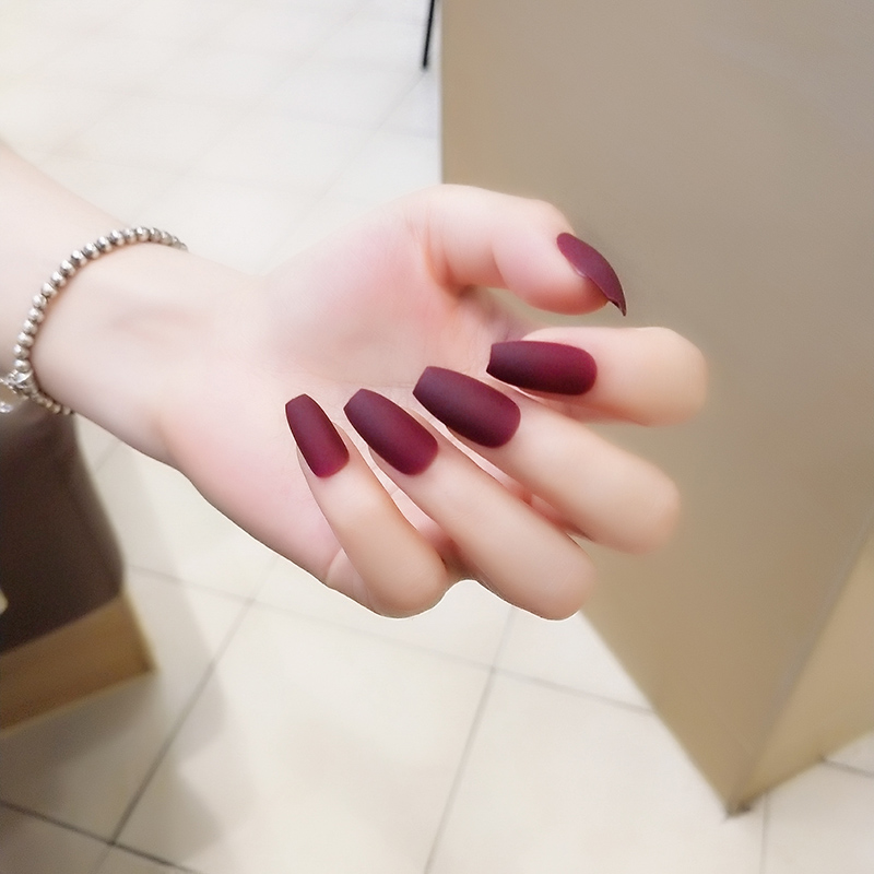 24pcs Set Matte Frosted Full Cover Ballerina Coffin Fake Nails Tips Trapezoidal Designs Long Wine Red Ballerinas False Nail Art In From Beauty