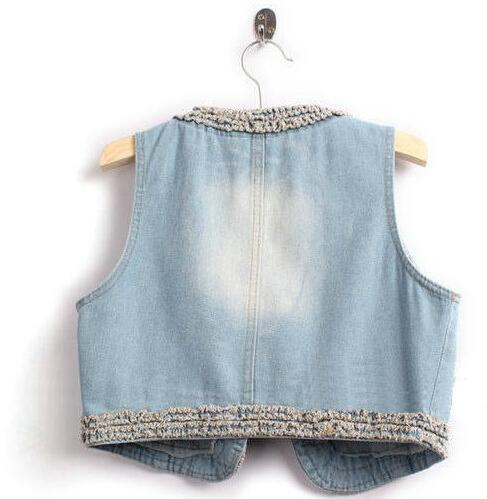 Women's Retro Washed Sleeveless Personalized Cardigan Jeans Denim Vest Waistcoat Coat Jacket,free  Size, Free Shipping