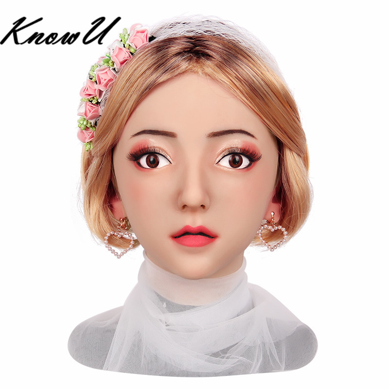 KnowU Realistic Silicone Famale Mask Headwear Crossdresser Transgender dragqueen Transvestite cosplay tranny image