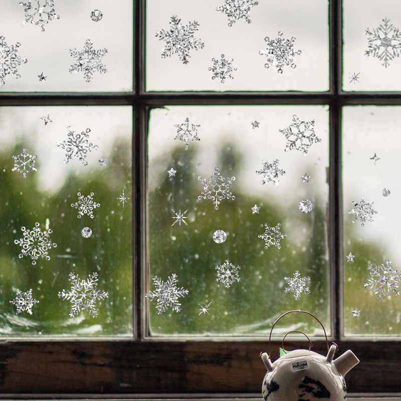 Noel Çıkartmaları Restoran Alışveriş Merkezi Dekorasyon Kar Cam Pencere Çıkarılabilir Çıkartmalar Noel Dekorasyon