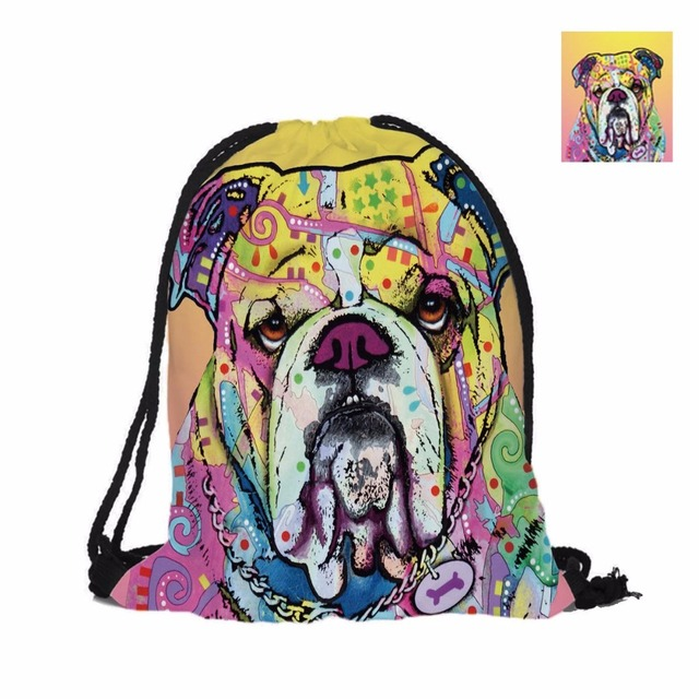 3D Printing Drawstring Bag Bulldog Designs Double Sided Printing Backpack  Cute Dog Series Lovely Dogs Bags