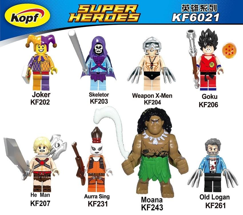 Single Sale Super Heroes Princess Moana Joker Old Logan He-Man He Man Heman Skeletor Building Blocks Children Gift Toys KF6021 a single man
