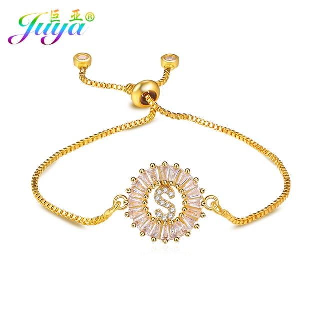 Fine Jewelry Supplies Women Fashion Gold Chains Bracelets Micro Pave Zircon  Alphabet Charm Bracelets Adjustable Chains Bracelets 623b3e0cdb