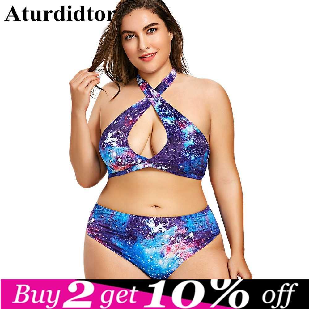 2974e466905124 XXXL 3XL 4XL 5XL Plus Size Bikini Galaxy Print Halter Purple Swimwear Women Plus  Size Bodysuit