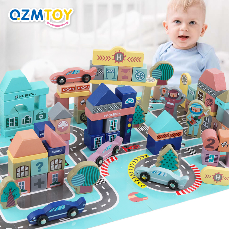 Kids Toys 161pcs/set City Racing Scenes Assembled Building Blocks Wooden Toys Early Educational Toys For Children Birthday Gift