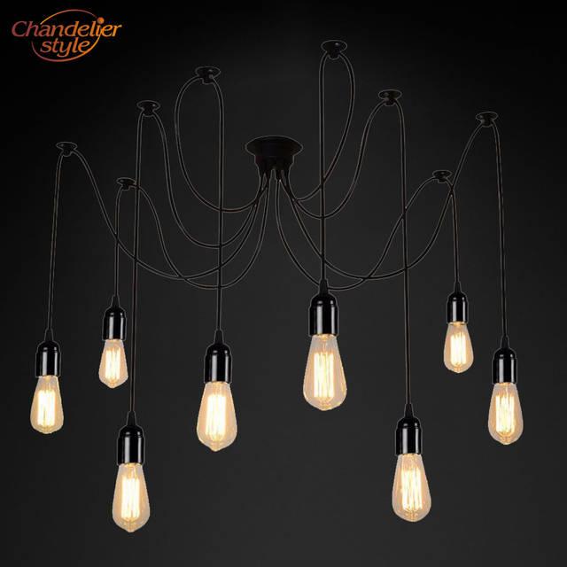 Vintage Rétro Lustre Bricolage Led Araignée Lustre éclairage Plafond Suspendu Lumière Encastré Edison Lampe Pour Salon Salle à Manger