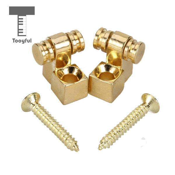 Tooyful High Quality 2Pcs Zinc Alloy Gold Roller Guitar String Retainer& Mounting Screw Trees Accessory for Electric Bass Guitar