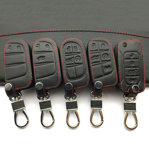 Car Style Fashion Genuine Leather Car Key Cover For Fiat / For Jeep Renegade 2014 2015 Grand Cherokee Chrysler 300C Key cases(China)