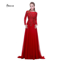 Real Sample Sexy Applique Beading Long Sleeve Backless Evening Dresses 2015