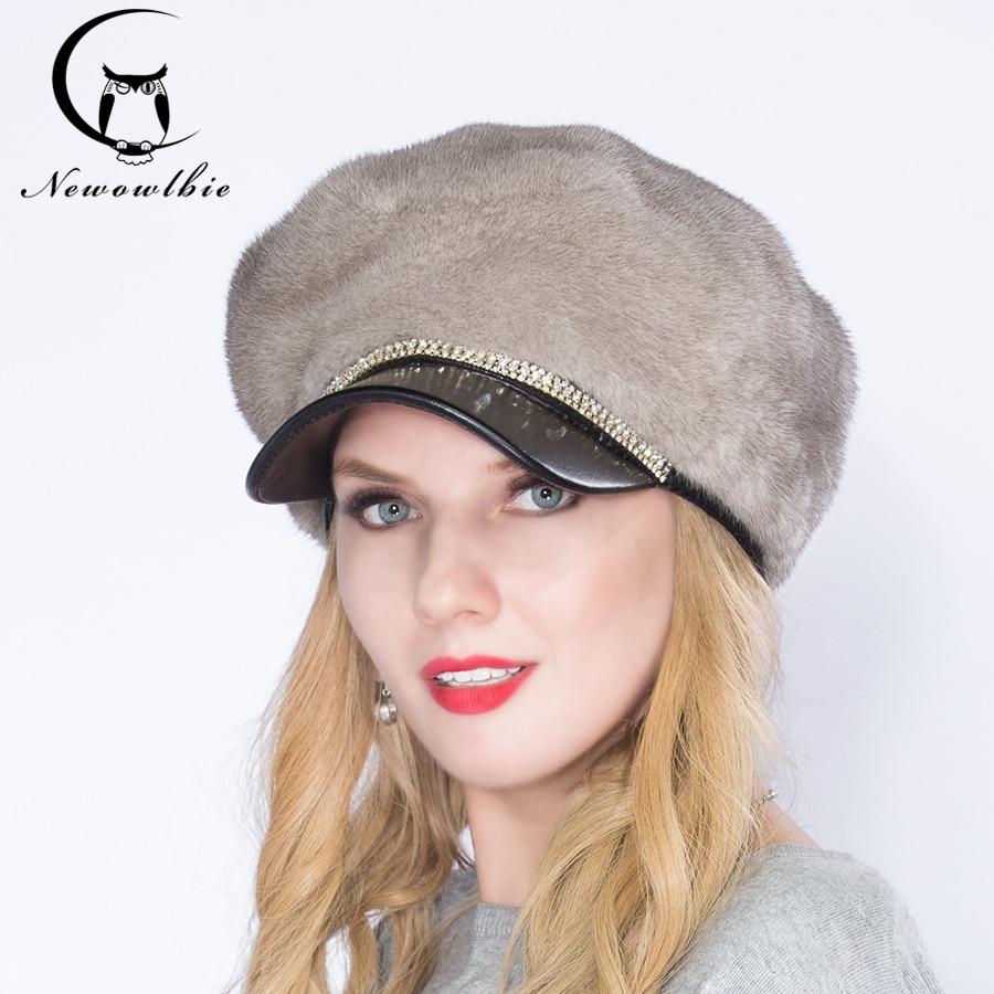 2021  women hat mink hat, young fashion mink whole skin cap, knight hat, winter comfortable warm, hat plus diamonds, elegant