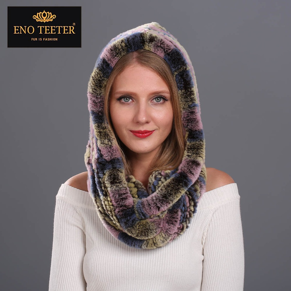 ФОТО Winter Women Fur Scarves Muti-color  Natural Knitted Rex Rabbit Fur  Shawls  Real Fur Poncho  Hooded Scarves