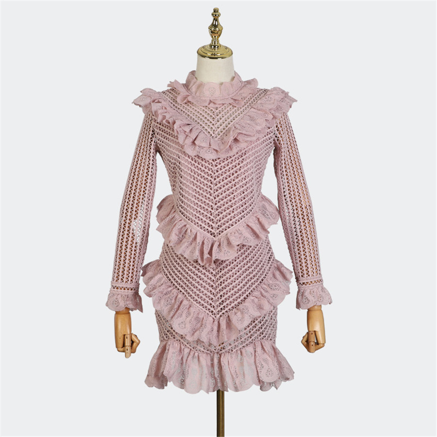 2018 New Autumn Hollow Out Women Long Sleeve Fashion Lady Dress Runway Designer Ruffled Mini dress Vestidos Light Pink Dresses-in Dresses from Women's Clothing    1