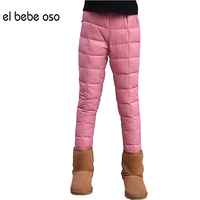 2017 Girls Pants Winter Cotton Padded Trousers For Children Warm Thick 4 13 Baby Infant Solid