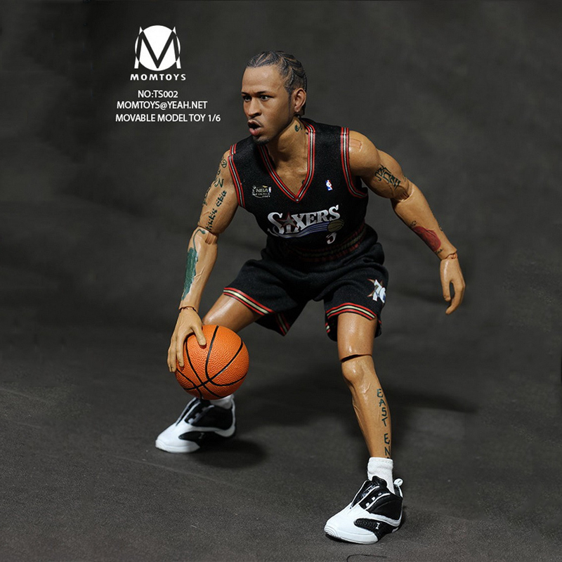 Basketball Star Action Figure Model Toys 1/6 Scale Star Iverson Full 2 Sets Sports Clothing   Kids Best Gifts Collection iverson basketball shoes male adolescents spring low help iverson war boots light wear antiskid sports shoes