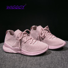 Women Casual Sports Shoes 2019 New Fashion Knit Breathable Mesh Lightweight flat Quality