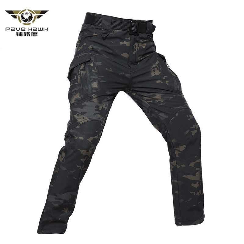 IX9 City Soft Shell Tactical Camouflage Winter Fleece Pants Men Waterproof Military Cargo Pants Winter Warm Army Trousers 5XL