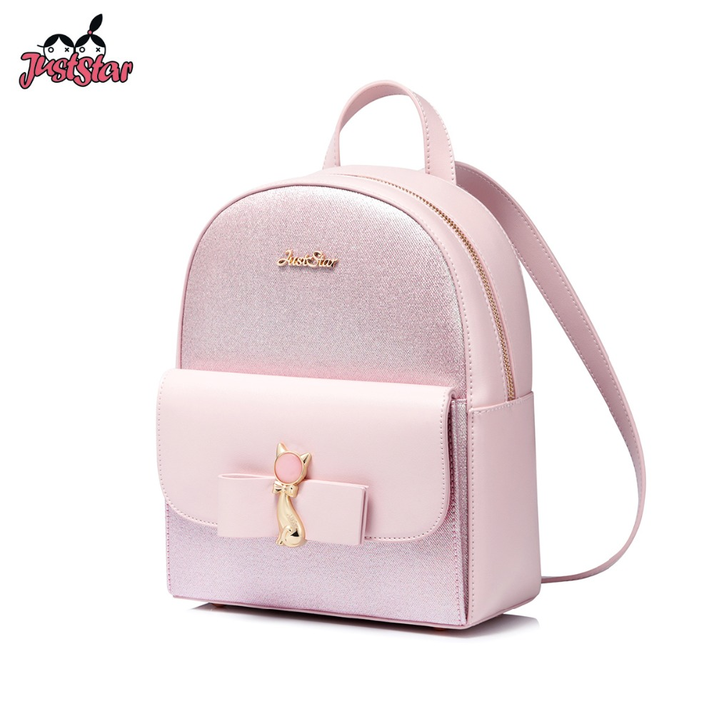 JUST STAR Brand Women s PU Leather Backpack Female Cat Ear Bow Double Shoulder Bags Ladies