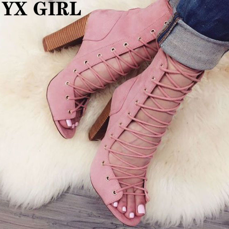 Gladiator Style Open Toe Suede Lace Up Chunky Heel Summer Sandal Boots Spring Autumn Block Heels Ankle Booties Woman Shoes